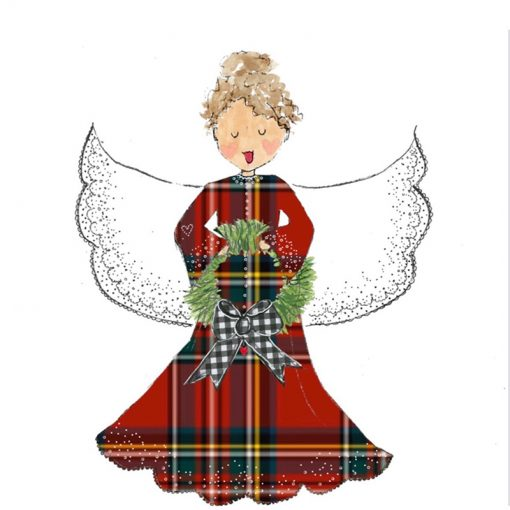 red plaid angel with no background