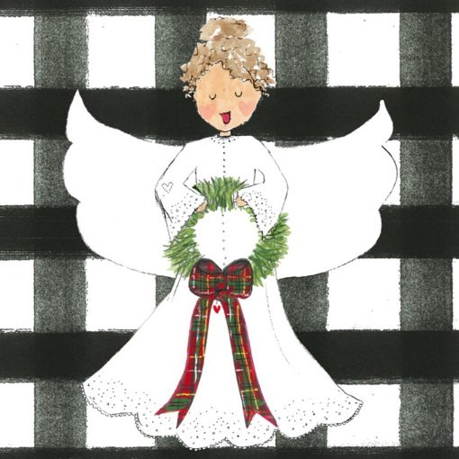white angel with black plaid background