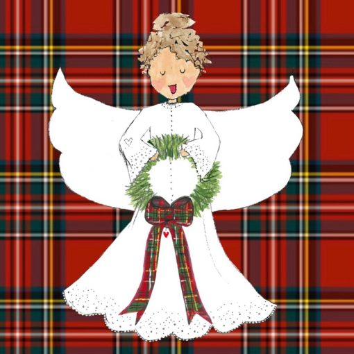 white angel with red plaid background